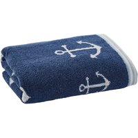 Anchor Motif Navy Hand Towel Navy (Blue)