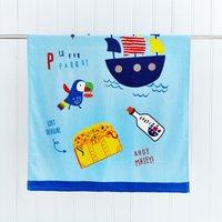 Pirate Panda Bath Towel Yellow / Blue