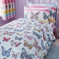 Floral Butterfly Bedspread Purple / Blue