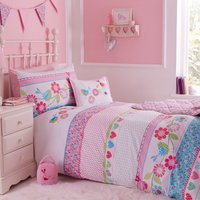 Songbird Cot Bed Duvet Cover Set Pink