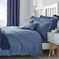 Arlo Seersucker 100% Cotton Blue Duvet Cover and Pillowcase Set Blue