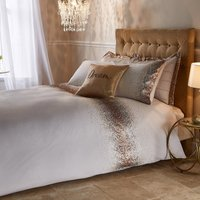 Luna Embroidered Ombre Sequin Champagne Duvet Cover and Pillowcase Set Champagne Gold