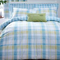 Harrison Check Teal Reversible Duvet Cover and Pillowcase Set Teal (Blue)