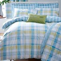 Harrison Check Teal Bedspread Teal Blue