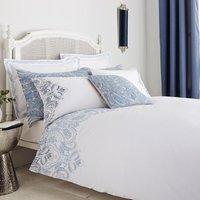 Taji Emboridered Blue Duvet Cover and Pillowcase Set Blue