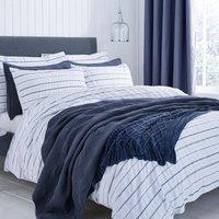 Colton Pinstripe100% Cotton White Duvet Cover and Pillowcase Set White