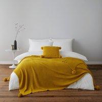 Pom Pom Ochre Knit Throw Ochre (Yellow)