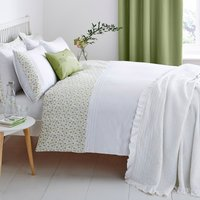 Calla Embroidered Green Duvet Cover and Pillowcase Set Green