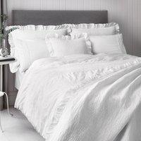 Frill Trim White Pillow Sham White