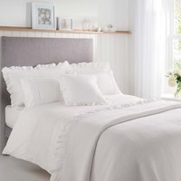 Grace Embroidered 100% Cotton White Duvet Cover and Pillowcase Set White