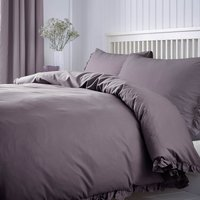 Ruffle 100% Cotton Mauve Duvet Cover and Pillowcase Set Mauve
