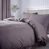 Ruffle 100% Cotton Mauve Duvet Cover and Pillowcase Set Mauve