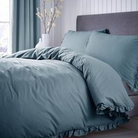 Ruffle 100% Cotton Teal Duvet Cover and Pillowcase Set Teal (Blue)