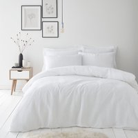 Alissa 100% Cotton White Duvet Cover and Pillowcase Set White