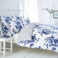 Saria Blue Reversible Duvet Cover and Pillowcase Set Blue