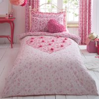 Flutter Heart Pink Duvet Cover and Pillowcase Set Pink