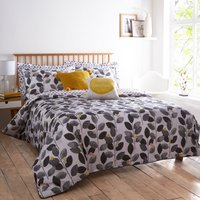 Elements Leaf Grey Reversible Duvet Cover and Pillowcase Set Grey