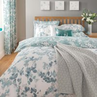 Honesty Teal Reversible Duvet Cover and Pillowcase Set Teal Blue