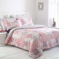 Athena Patchwork Reversible Duvet Cover and Pillowcase Set Blush Pink