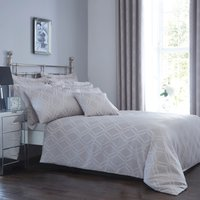Geo Jacquard Grey Duvet Cover and Pillowcase Set Grey