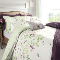 Wisley Floral Green Reversible Duvet Cover and Pillowcase Set Cream / Pale Green