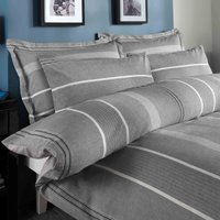 Willington Grey Striped Woven Duvet Cover and Pillowcase Set Grey