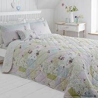 Hidcote Patchwork Bedspread Pink / Blue