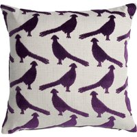 Velvet Purple Pheasant Cushion Purple