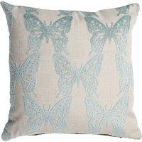 Cut Velvet Blue Butterfly Cushion Blue