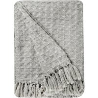 Madison Grey Waffle Throw Grey