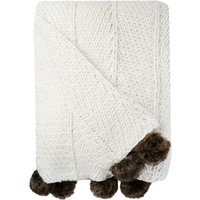 Natural Chunky Pompom Throw Natural