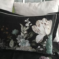 Dorma Burford Floral Oxford Pillowcase Pair Black