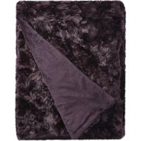 5A Fifth Avenue Emerson Plum Crushed Faux Fur Throw Plum Purple