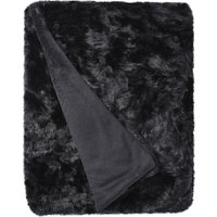 5A Fifth Avenue Emerson Black Crushed Faux Fur Throw Black