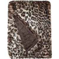 Faux Fur Leopard Throw Brown
