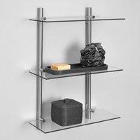 Manhattan 3 Tier Glass Shelf Satin Nickel (Silver)