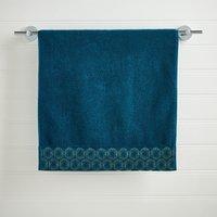 Charm Geo Border Teal Hand Towel Teal (Blue)