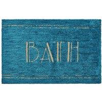 BATH Word Teal Bath Mat Teal (Blue)