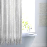 Lace White Shower Curtain White