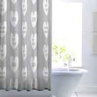 Slogan Hearts Shower Curtain Multi Coloured