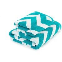 Chevron Teal Towel Teal (Blue)