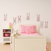 Katy Rabbit Wall Stickers Pink/White/Grey