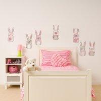 Katy Rabbit Wall Stickers Pink/White/Grey