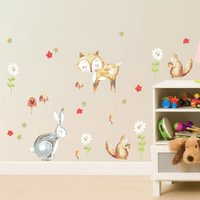 Woodland Wall Stickers Brown/Grey/Red/Green