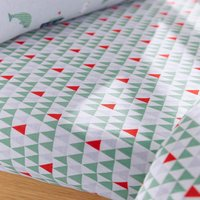 Ahoy There 14cm Fitted Sheet Twin Pack White/Green/Red/Grey