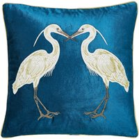 Teal Heron Cushion Teal (Blue)