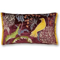Embroidered Bird Cushion Purple