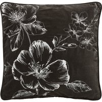 Chalk Floral Cushion Charcoal