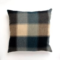 Large Blue Heritage Check Cushion Blue