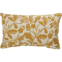 Moira Ochre Oak Leaf Embroidered Cushion Ochre
